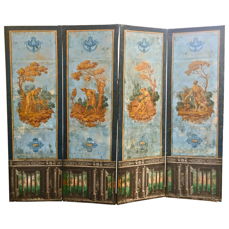 Period French Empire Neoclassical Wallpaper Screen by Zuber of Dufour 1