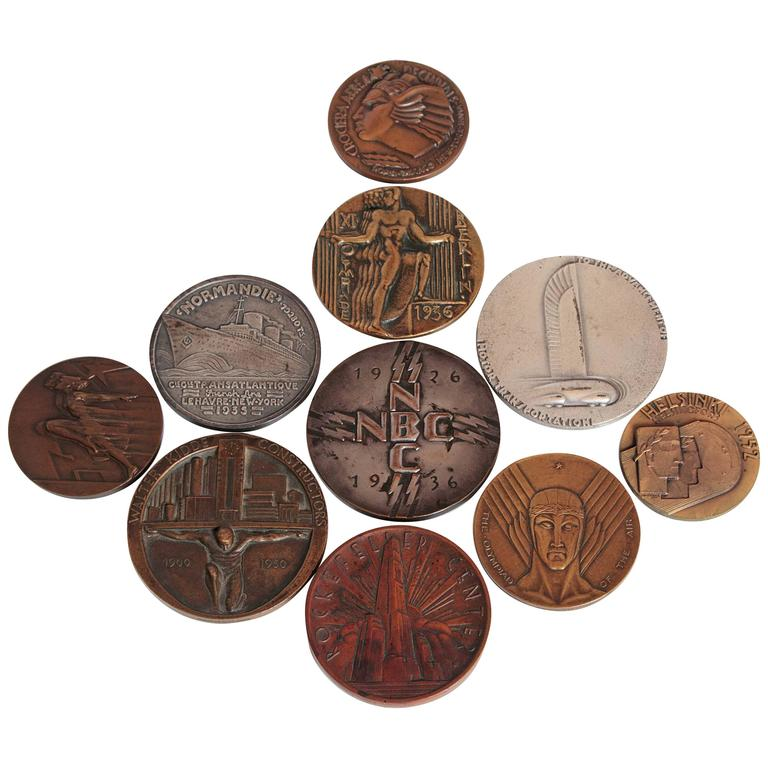 Collection Original Iconic Mixed-Metal Art Deco Medallions For Sale