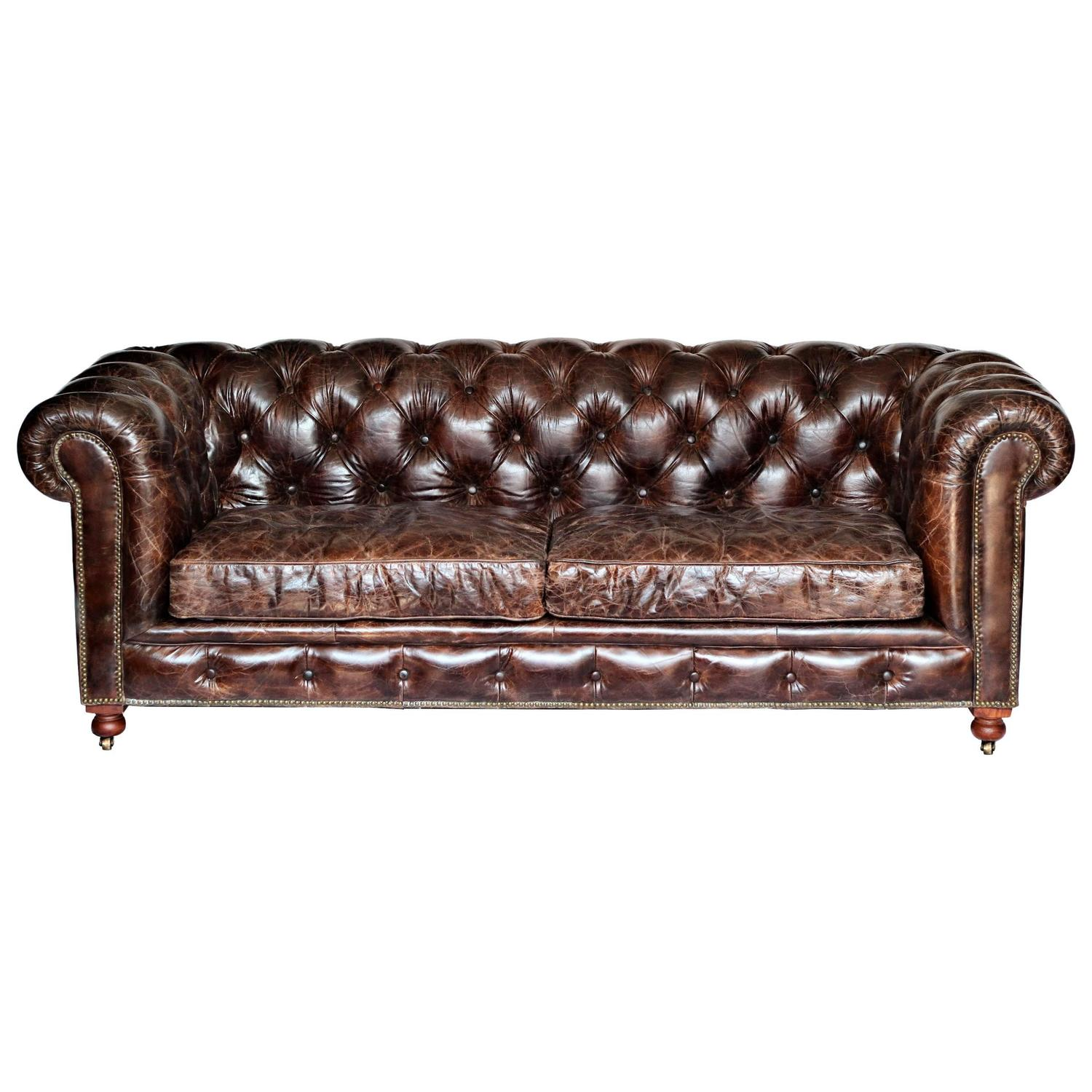 Custom leather chesterfield sofa at 1stdibs Leather chesterfield loveseat
