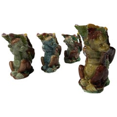 Set of Four Majolica Monkey Graduated Pitchers, 8 to 10 ins., English, c. 1880