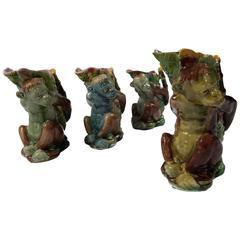 Majolica Monkey Vases