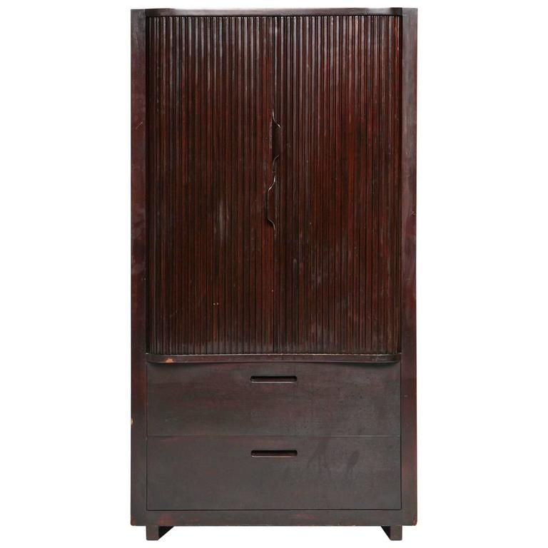 Tall Tambour Cabinet with Drawers by Edward Wormley for Dunbar