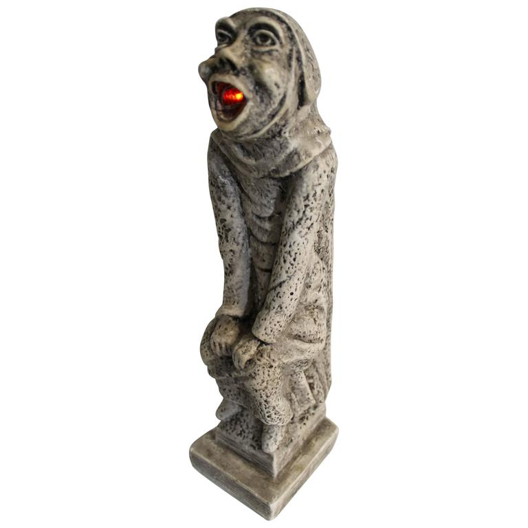 19th Century Gothic Sculptural Lamp of a Grotesque For Sale