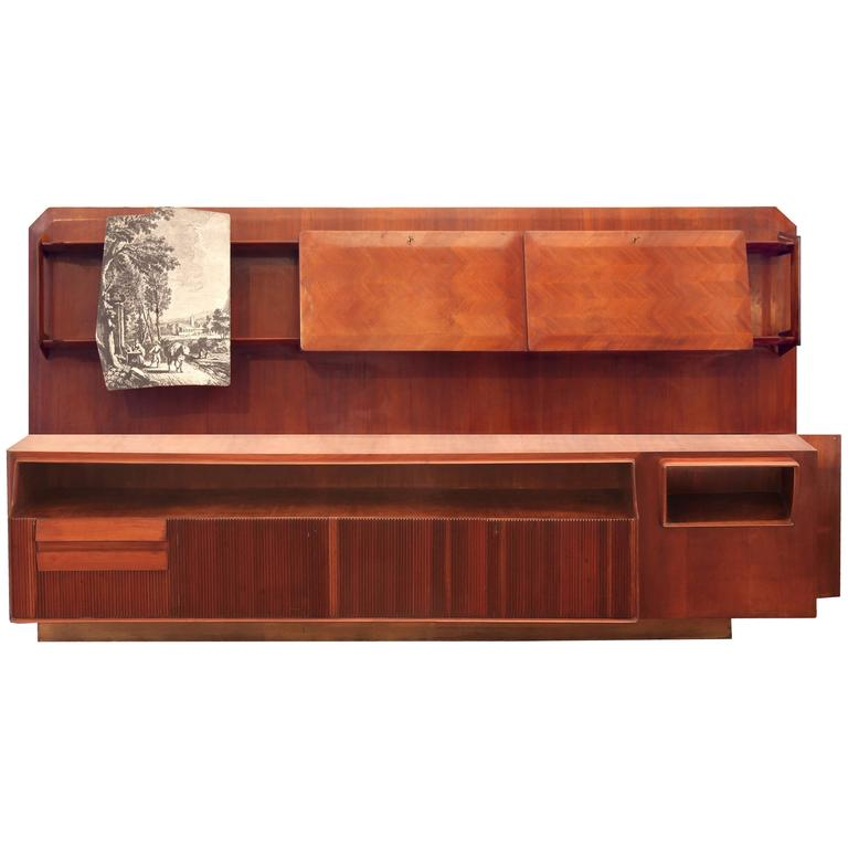 Large Dassi Mahogany Wall Unit Bookcase, Part of Unique Living Room, 1940