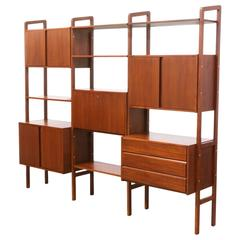 Midcentury Walnut Three-Bay Bookshelf Unit