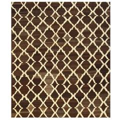 Tracery Design Brown Hand-Knotted Kilim Rug