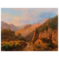 Large Italian  Mountain Landscape Painting