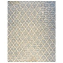 Contemporary Blue and Ivory Wool Kilim Rug