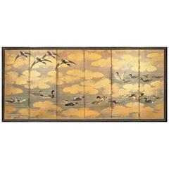 Japanese Six-Panel Screen 'Study of Waterfowl'