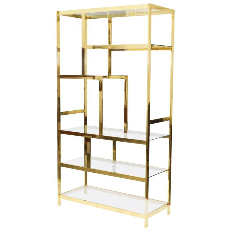 midcentury brass etagere display shelf unit for sale at 1stdibs. Black Bedroom Furniture Sets. Home Design Ideas