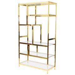 Midcentury Brass Etagere Display Shelf Unit