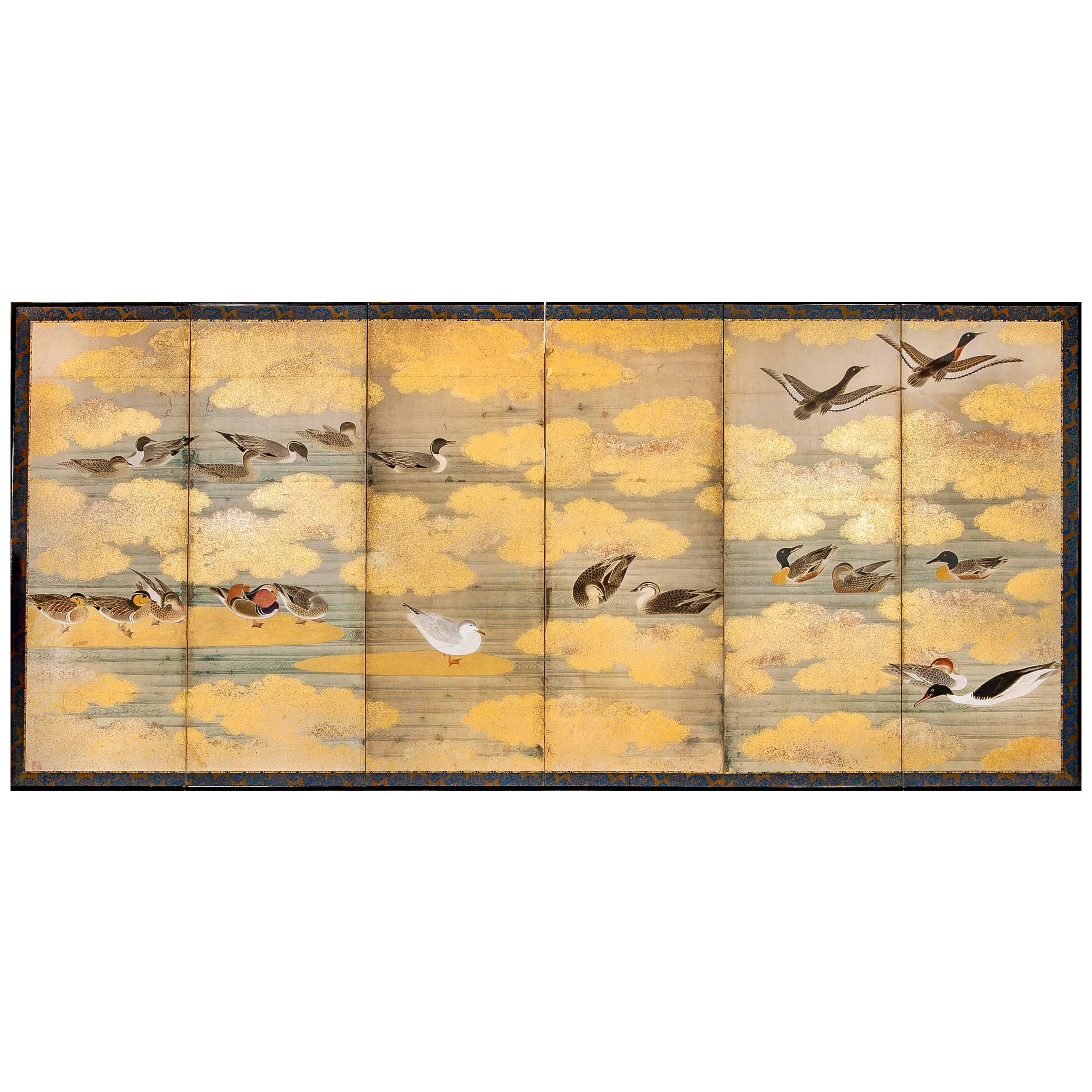 Japanese Six Panel Screen: Audubon Painting of Waterfowl