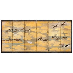 Japanese Six Panel Screen: Audubon Painting of Waterfowl
