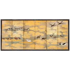 Japanese Six Panel Screen: Study of Waterfowl