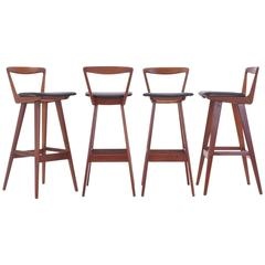 Set of Four Rosewood Bar Stools by Henry Rosengren Hansen, Excellent Condition