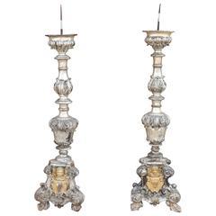 18thc. Italian silver/gold leaf candlesticks from Altar