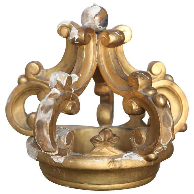 19th Century Italian Gold Gilt Crown For Sale