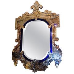 Wonderful Vintage Italian Blue Crystal and Beveled Glass Antique Venetian Mirror