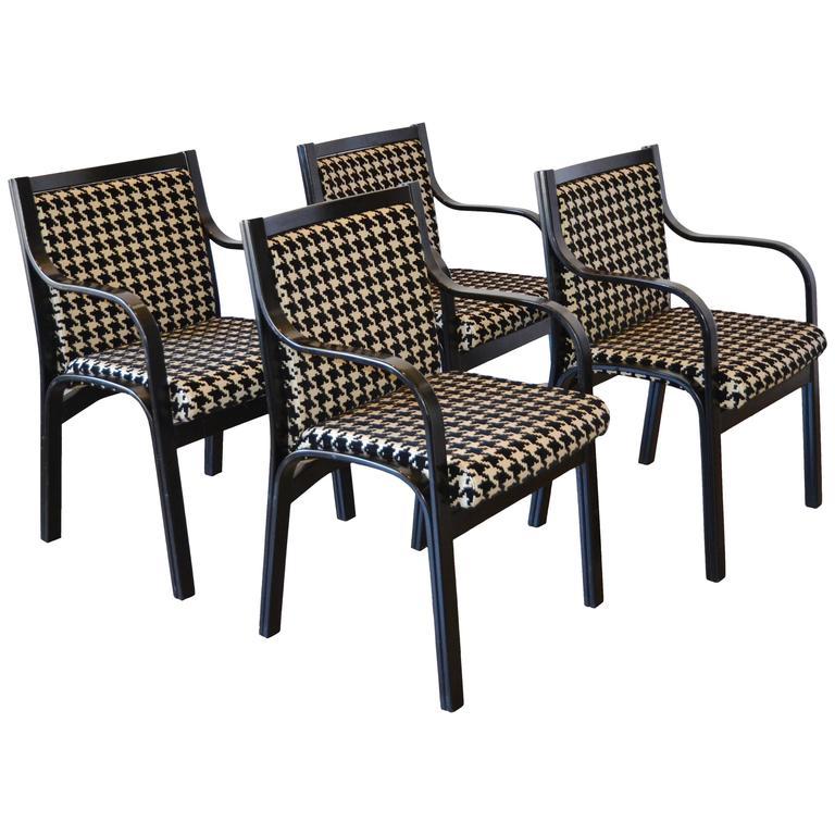 Italian Poltrona Frau Modern Armchairs Set of Four
