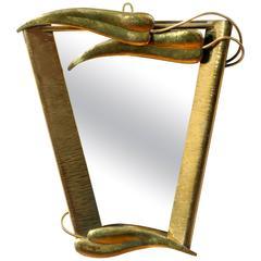Hand-Hammered Brass Framed Mirror Attributed toFranz Hagenauer, Vienna 1950
