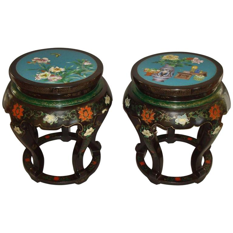 Pair of Chinese Lacquered and Cloisonné Low Tables