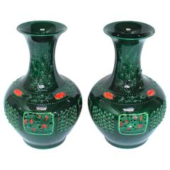 Pair of Large Chinese Jade Green Pierced Baluster Vases