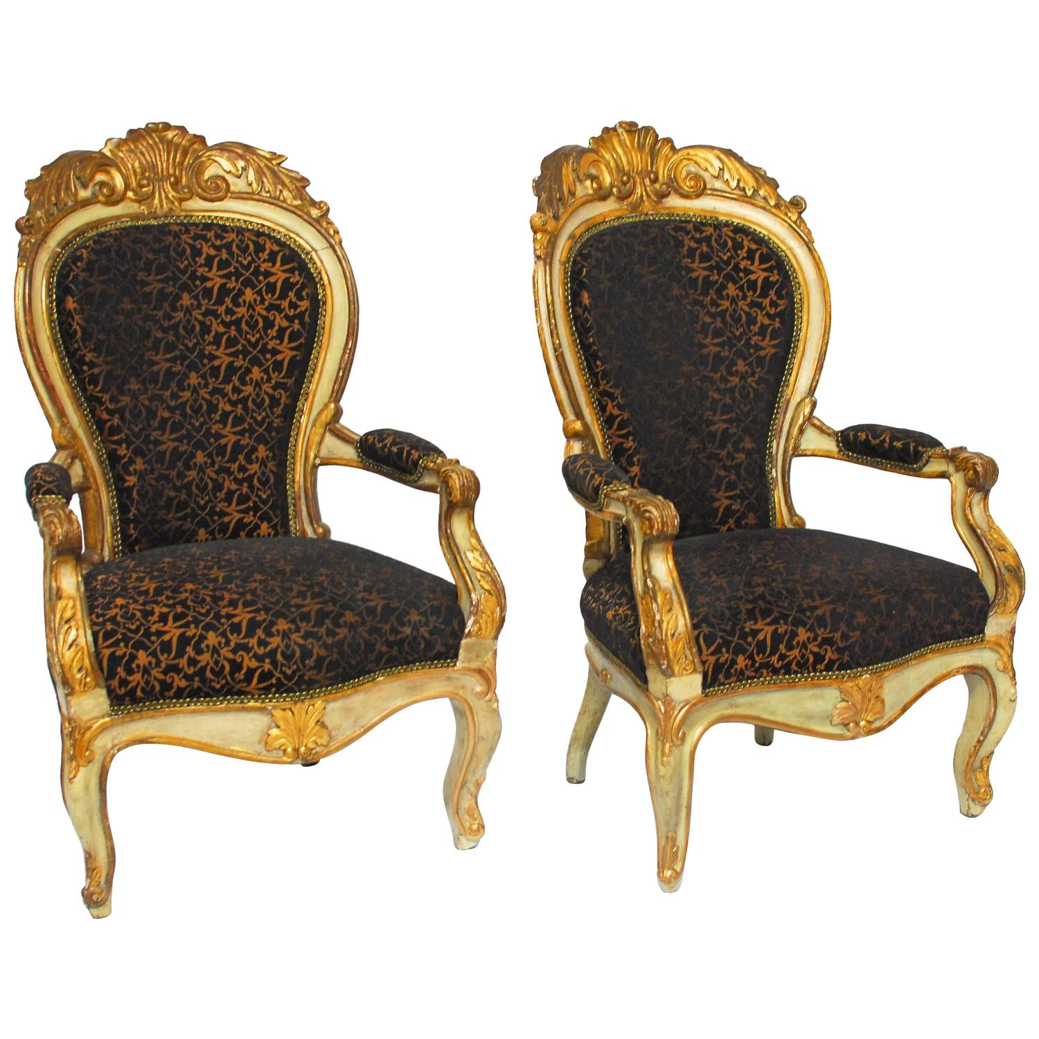 19th century louis xv fauteuils at 1stdibs. Black Bedroom Furniture Sets. Home Design Ideas
