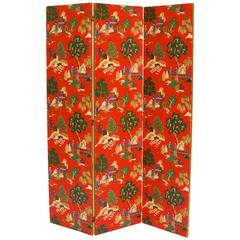 Chinese Polychrome Wallpaper Three-Panel Pagoda Screen