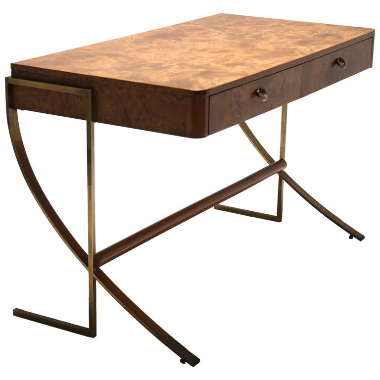 Hickory White Burl Wood Desk With Brass Legs 1
