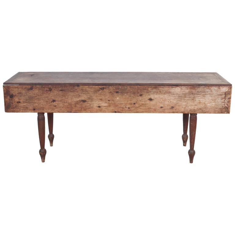 Rustic Drop Leaf Wooden Table With Turned Legs At 1stdibs
