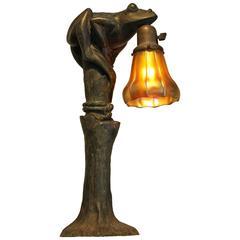 Art Nouveau Figural Bronze Frog Lamp with Steuben Shade