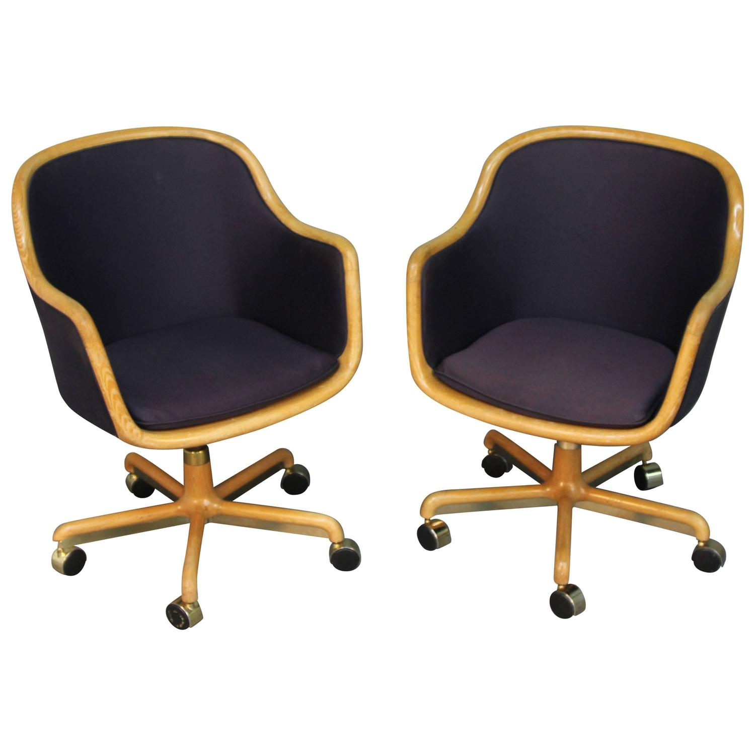 Pair Of Brickell Upholstered Wood Frame Rolling Swivel