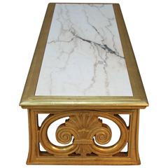Gold Gilt and Marble Coffee Table Neoclassical Style