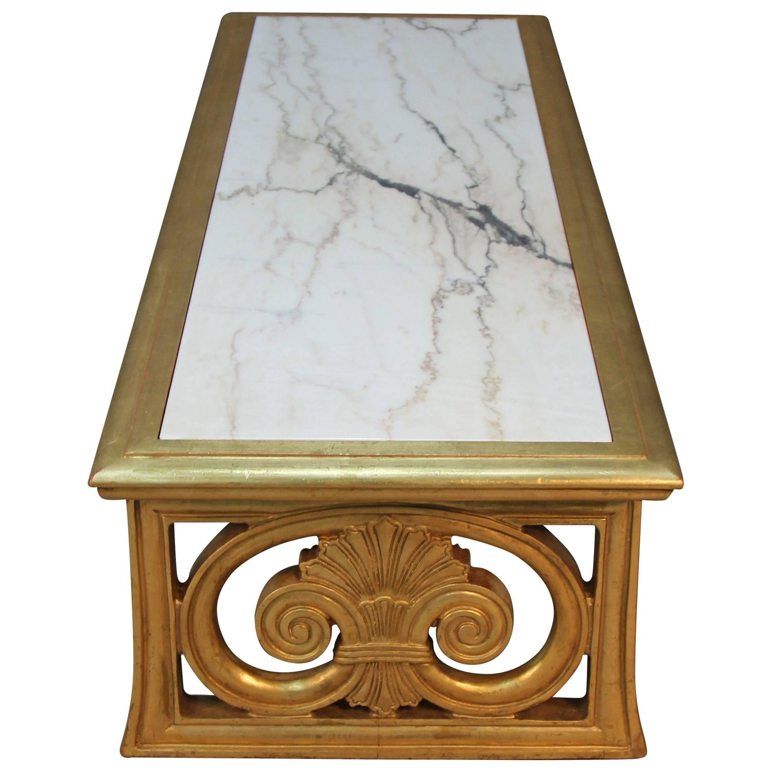 Gold Gilt and Marble Coffee Table Neoclassical Style For Sale at