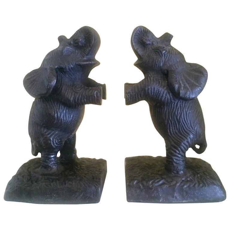 Pair of Metal Elephant Bookends