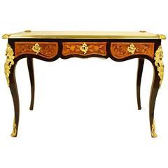 A 19th Century Gilt Bronze Mounted Marquetry Bureau Plat or Desk