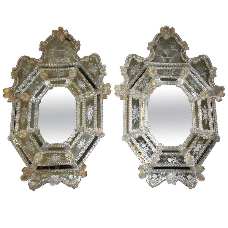 Pair of Venetian Etched Clear Gold Octagonal Wall Mirrors