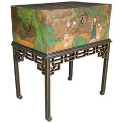 Chinese Export Painted Leather Trunk on Ebonized and Gilt Stand