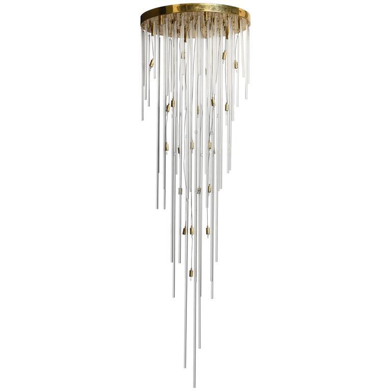 Mid-Century Modernist Large Lightolier Crystal Rod Chandelier