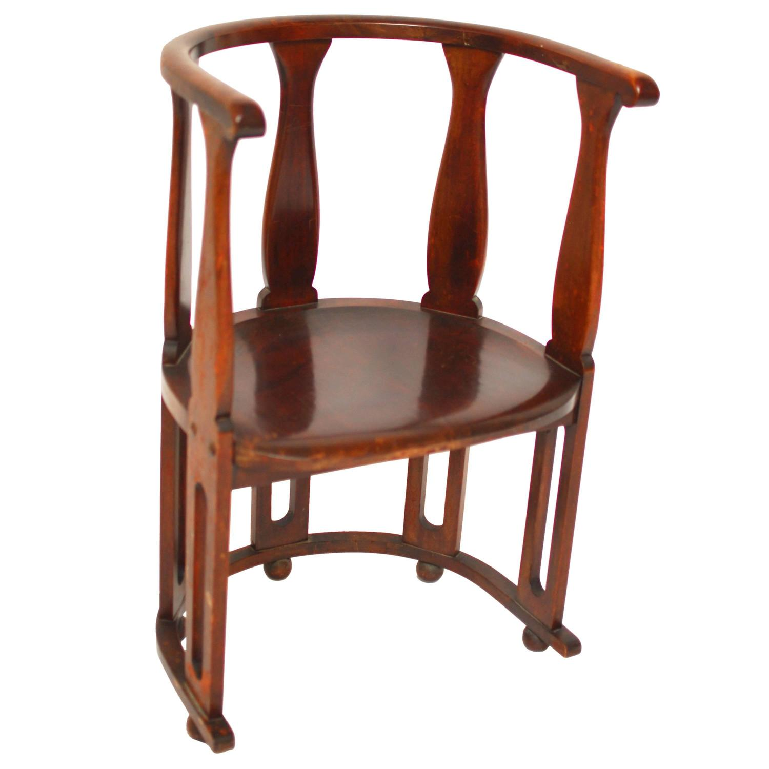 Arts and Crafts High Back Barrel Chair For Sale at 1stdibs