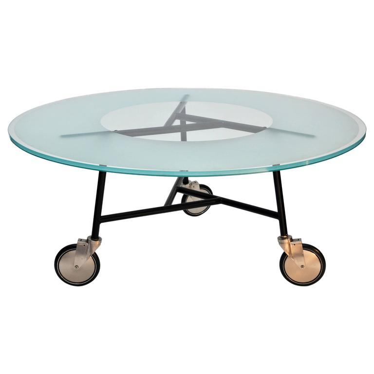 Ward Bennett, Glass Table on Wheels 1