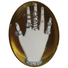 Vintage Piero Fornasetti Dish with Hand and Rings on Gold Ground