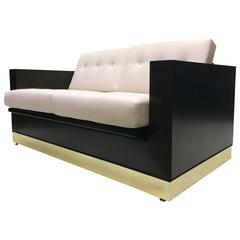 Midcentury Ebonized Wood and Brass Box Love Seat