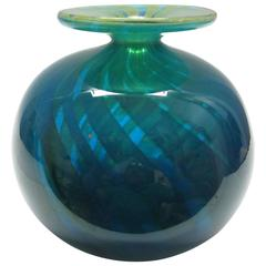 Italian Blown Art Glass Vase in Blue and Green Swirl, Signed