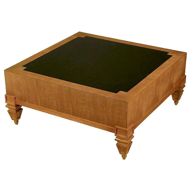 Tomlinson Empire Style Mahogany And Black Leather Square Coffee Table For Sale At 1stdibs