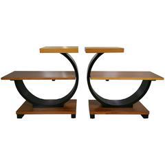 Rare Modernage Half Circle Art Deco Tables