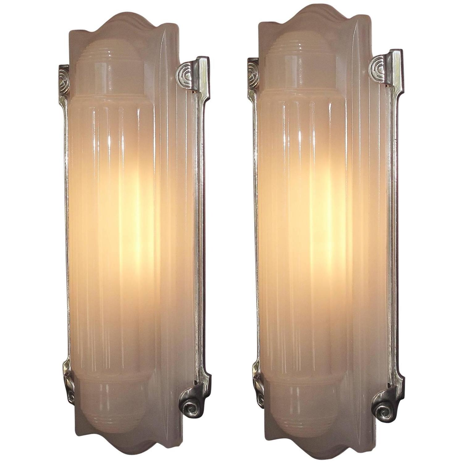 Wall Sconces Home Theater : Large Elegant Art Deco Wall Sconces Home Theater at 1stdibs
