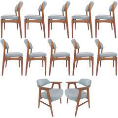 Set of 12 Danish Teak Dining Chairs by Erik Buck & Erik Kirkegaard, circa 1950s
