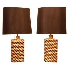 Pair of Ceramic Table Lamps, France circa 1970