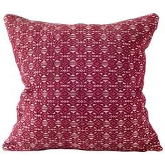 Vintage Textile Pillow, Hand-Loomed Laotian Moon-Star Motif Cushion in Dark Red